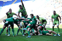Darren Allinson of London Irish sends up a box kick during the Premiership Rugby match between London Irish and Northampton Saints at the Madejski Stadium on Saturday 4th October 2014 (Photo by Rob Munro)