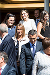 "Queen Letizia of Spain pose with the Representatives of the ""Spanish Federation for Rare Diseases FEDER"" and ""Network of solidarity organizations"" working with FEDER during royal audiences at Zarzuela Palace in Madrid, September 03, 2015. <br /> (ALTERPHOTOS/BorjaB.Hojas)"