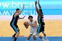 LEEUWARDEN - Basketbal, Donar - Estudiantes, Kalverdijkje, Champions League,  29-09-2017, Donar speler Sean Cunningham met Estudiantes  speler  Sylven Landesberg
