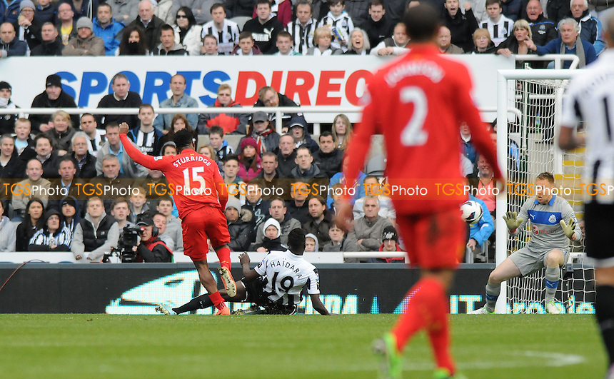 Daniel Sturridge of Liverpool scores Liverpool's third - Newcastle United vs Liverpool - Barclays Premier League Football at St James Park, Newcastle upon Tyne - 27/04/13 - MANDATORY CREDIT: Steven White/TGSPHOTO - Self billing applies where appropriate - 0845 094 6026 - contact@tgsphoto.co.uk - NO UNPAID USE