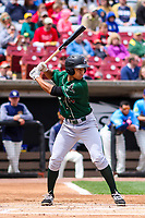 Great Lakes Loons second baseman Marcus Chiu (5) at bat during a Midwest League game against the Wisconsin Timber Rattlers on May 12, 2018 at Fox Cities Stadium in Appleton, Wisconsin. Wisconsin defeated Great Lakes 3-1. (Brad Krause/Four Seam Images)