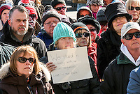 A crowd of about 100 Sarnians braved cold, bitter winds in support of  the Muslim community following Quebec mosque massacre. Aruba Mahmud
