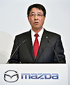 May 13, 2015, Tokyo, Japan - President Masamichi Kogai of Mazda Motor Corp. speaks during a news conference at a Tokyo hotel on Wednesday, May 13, 20-15. Japans two automakers, Toyota and Mazda, announced long-term partnership in technology in which Toyota will provide its fuel cell and plug-in hybrid technology in return for Mazda's proprietary Skyactive green technology. (Photo by Natsuki Sakai/AFLO)