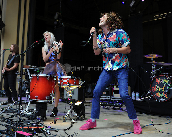 BOCA RATON - AUGUST 15 :   Alice Katz and Sam Martin of Youngblood Hawke perform at the Mizner Park Amphitheatre on August 15, 2014 in West Palm Beach, Florida. Credit: mpi04/MediaPunch