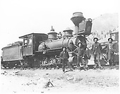 RGS 2-8-0 #15 at Telluride.  L-R, are Wilfred Laube, Leo Croonenberghs, John Crum and John McDonald.<br /> RGS  Telluride, CO  6/1904