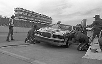 Bill Elliott makes a pit stop in the #9 Coors Melling Ford Thunderbird en route to a 6th place finish, Atlanta Journal 500 at Atlanta International Raceway in Hampton, GA on November 6, 1983. (Photo by Brian Cleary/www.bcpix.com)