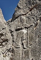 Figure of a god from the 13th century BC Hittite religious rock carvings of Yazılıkaya Hittite rock sanctuary, chamber A,  Hattusa, Bogazale, Turkey.
