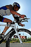GER - Maxdorf, Germany, June 14: Athletes compete in the cycling section during the 12. Maxdorfer Triathlon on June 14, 2015 at TSG Maxdorf in Maxdorf, Germany. (Photo by Dirk Markgraf / www.265-images.com) *** Local caption *** Marion Hebding #13 (Soprema Team SV Mannheim)
