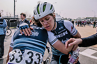 Ellen Van Dijk looking disspointed at the end of the <br /> 16th Ronde Van Vlaanderen<br /> <br /> Elite Womans Race (1.WWT)<br /> <br /> One day race from Oudenaarde to Oudenaarde<br /> ©Jojo Harper for Kramon