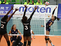 BARRANQUILLA - COLOMBIA, 22-07-2018:Trinidad y Tobago vs Costa Rica ,Voleibol  femenino .Juegos Centroamericanos y del Caribe Barranquilla 2018. / Trinidad and Tobago vs Costa Rica, women's volleyball of the Central American and Caribbean Sports Games Barranquilla 2018. Photo: VizzorImage /  Contribuidor