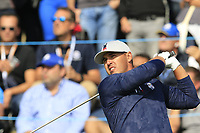 Brooks Koepka Team USA tees off the 17th tee during Friday's Fourball Matches at the 2018 Ryder Cup, Le Golf National, Iles-de-France, France. 28/09/2018.<br /> Picture Eoin Clarke / Golffile.ie<br /> <br /> All photo usage must carry mandatory copyright credit (© Golffile | Eoin Clarke)