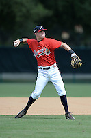Atlanta Braves third baseman Jordan Edgerton (8) during an Instructional League game against the Houston Astros on September 22, 2014 at the ESPN Wide World of Sports Complex in Kissimmee, Florida.  (Mike Janes/Four Seam Images)