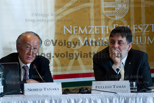 Nobuo Tanaka (L) director of the International Energy Agency (IEA) and Tamas Fellegi (R) minister for National Developmejnt attends a press conference in Budapest, Hungary on July 15, 2011. ATTILA VOLGYI in Budapest, Hungary on July 15, 2011. ATTILA VOLGYI