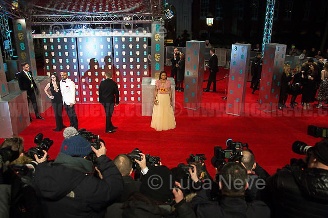 Naomi Harris.<br /> <br /> London, 12/02/2017. Red Carpet of the 2017 EE BAFTA (British Academy of Film and Television Arts) Awards Ceremony, held at the Royal Albert Hall in London.<br /> <br /> For more information please click here: http://www.bafta.org/