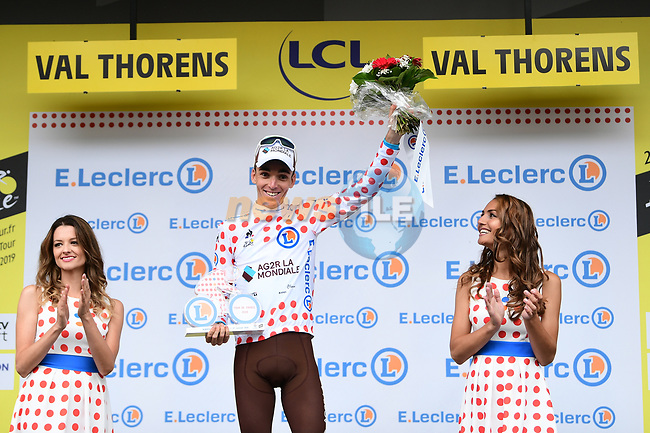 Romain Bardet (FRA) AG2R La Mondiale retains the mountains Polka Dot Jersey after Stage 20 of the 2019 Tour de France running 59.5km from Albertville to Val Thorens, France. 27th July 2019.<br /> Picture: ASO/Alex Broadway | Cyclefile<br /> All photos usage must carry mandatory copyright credit (© Cyclefile | ASO/Alex Broadway)