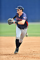 Rome Braves first baseman Austin Bush (48) reacts to the ball during a game against the Asheville Tourists at McCormick Field on June 25, 2017 in Asheville, North Carolina. The Braves defeated the Tourists 7-2. (Tony Farlow/Four Seam Images)