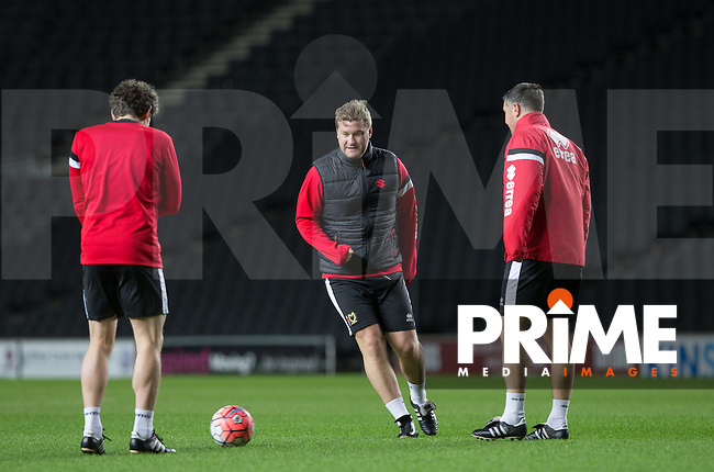 MK Dons Manager Karl Robinson (centre) in action during the MK Dons Training Sessionahead of the FA Cup fixture against Chelsea at stadium:mk, Milton Keynes, England on 28 January 2016. Photo by Andy Rowland.