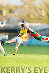 20-1-19 AIB GAA Football All-Ireland Intermediate Club Championship, Semi Final between Kilcummin, and Two Mile House in the Gaelic Grounds, Limerick.<br /> Chris O'Leary, Kilcummin tries to block a kick from Chris Healy, Two Mile House..<br /> Picture: Keith Wiseman
