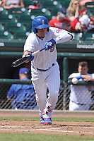 Iowa Cubs Albert Almora Jr. (6) bunts during the game against the New Orleans Zephyrs at Principal Park on April 14, 2016 in Des Moines, Iowa.  The Cubs won 4-2 .  (Dennis Hubbard/Four Seam Images)