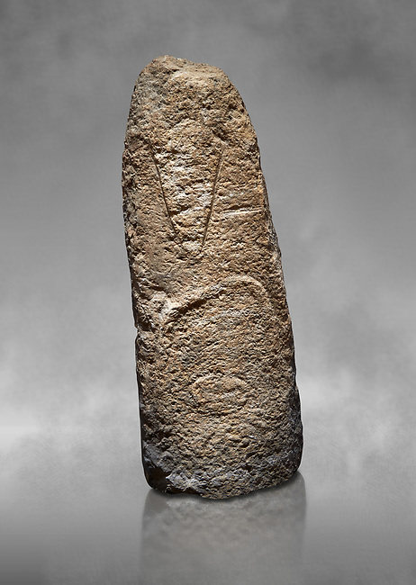 Late European Neolithic prehistoric Menhir standing stone with carvings on its face side. The representation of a stylalised male figure starts at the top with a long nose from which 2 eyebrows arch around the top of the stone. below this is a carving of a falling figure with head at the bottom and 2 curved arms encircling a body above. Excavated from Paule Luturru,  Samugheo. Menhir Museum, Museo della Statuaria Prehistorica in Sardegna, Museum of Prehoistoric Sardinian Statues, Palazzo Aymerich, Laconi, Sardinia, Italy