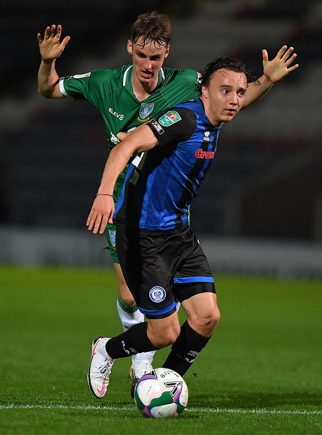 Sheffield Wednesday's Ciaran Brennan battles for the ball<br /> <br /> Photographer Dave Howarth/CameraSport<br /> <br /> Carabao Cup Second Round Northern Section - Rochdale v Sheffield Wednesday - Tuesday 15th September 2020 - Spotland Stadium - Rochdale<br />  <br /> World Copyright © 2020 CameraSport. All rights reserved. 43 Linden Ave. Countesthorpe. Leicester. England. LE8 5PG - Tel: +44 (0) 116 277 4147 - admin@camerasport.com - www.camerasport.com