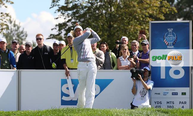 Suzann Pettersen (NOR) and Charley Hull (ENG) claw back a 3 hole deficit to take the match down the last during Saturday morning's Foursomes, at The Solheim Cup 2015 played at Golf Club St. Leon-Rot, Mannheim, Germany.  19/09/2015. Picture: Golffile   David Lloyd<br /> <br /> All photos usage must carry mandatory copyright credit (&copy; Golffile   David Lloyd)