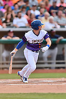 Tennessee Smokies second baseman Ian Happ (1) swings at a pitch during a game against the Mississippi Braves at Smokies Stadium on July 23, 2016 in Kodak, Tennessee. The Braves defeated the Smokies 3-0. (Tony Farlow/Four Seam Images)