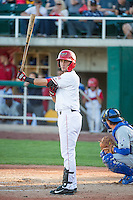 Ranyelmy Mendoza (12) of the Orem Owlz at bat against the Ogden Raptors in Pioneer League action at Home of the Owlz on June 20, 2015 in Provo, Utah.The Raptors defeated the Owlz 9-6.  (Stephen Smith/Four Seam Images)