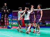 17th March 2018, Arena Birmingham, Birmingham, England; Yonex All England Open Badminton Championships; Yuta Watanabe (JPN) and Arisa Higashino (JPN) win semi-final match and shake hands with Zhang Nan (CHN) and Li Yinhui (CHN)