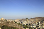 Samaria, a view of Shechem (Nablus) from Mount Gerizim, Mount Ebal is in the background
