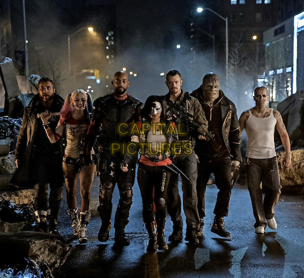 Suicide Squad (2016)<br /> Will Smith 'Floyd Lawton / Deadshot', Jay Hernandez,  Adewale Akinnuoye-Agbaje 'Waylon Jones / Killer Croc', Jai Courtney 'Captain Boomerang', Margot Robbie 'Harley Quinn', Joel Kinnaman 'Rick Flagg', Karen Fukuhara <br /> *Filmstill - Editorial Use Only*<br /> CAP/PLF<br /> Supplied by Capital Pictures