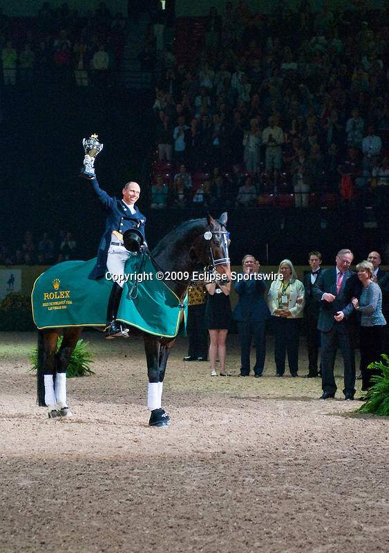18 April 2009: Steffen Peters (USA) and Ravel with world cup trophy at the Rolex World Cup Dressage Freestyle Grand Prix.
