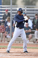 Guillermo Pimentel #27 of the Seattle Mariners plays in a minor league spring training game against the Langley Blaze, an amateur touring team from British Columbia, Canada at the Mariners minor league complex on March 22, 2011  in Peoria, Arizona. .Photo by:  Bill Mitchell/Four Seam Images.