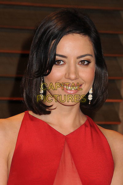 02 March 2014 - West Hollywood, California - Aubrey Plaza. 2014 Vanity Fair Oscar Party following the 86th Academy Awards held at Sunset Plaza. <br /> CAP/ADM/BP<br /> &copy;Byron Purvis/AdMedia/Capital Pictures