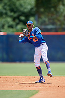 GCL Mets second baseman Sebastian Espino (60) throws to first base during a game against the GCL Marlins on August 3, 2018 at St. Lucie Sports Complex in Port St. Lucie, Florida.  GCL Mets defeated GCL Marlins 3-2.  (Mike Janes/Four Seam Images)