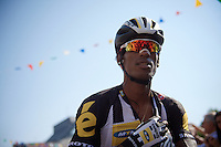 Daniel Teklehaimanot (ERI/MTN-Qhubeka) at the start<br /> <br /> stage 12: Lannemezan - Plateau de Beille (195km)<br /> 2015 Tour de France