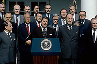 Washington DC., USA, May 31, 1984<br /> President Ronald Reagan delivers remarks on the 35th Anniversary of the North Atlantic Alliance in the Rose Garden with all the Nato Ministers. Credit: Mark Reinstein/MediaPunch
