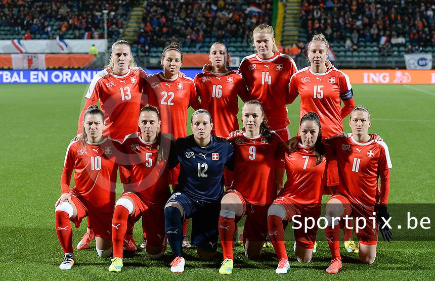 20160302 – DEN HAAG ,  NEDERLAND : Swiss team pictured with Michel Stenia (12) , Noelle Maritz (5), Martina Moser (7) , Lia Walti (9) , Ramona Bachmann (10) , Lara Dickenmann (11) , Ana Maria Crnogorcevic (13) , Rahel Kiwic (14) , Caroline Abbe (15) , Fabienne Humm (16) and Vanessa Bernauer (22) during the Olympic Qualification Tournament  soccer game between the women teams of Switzerland and The Netherlands, The first game for both teams in the Olympic Qualification Tournament for the Olympic games in Rio de Janeiro - Brasil, Wednesday 2 March 2016 at Kyocera Stadium in The Hague , Netherlands  PHOTO DAVID CATRY