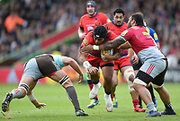 Joe Taufete'e of Worcester Warriors takes on the Harlequins defence. Aviva Premiership match, between Harlequins and Worcester Warriors on October 28, 2017 at the Twickenham Stoop in London, England. Photo by: Patrick Khachfe / JMP