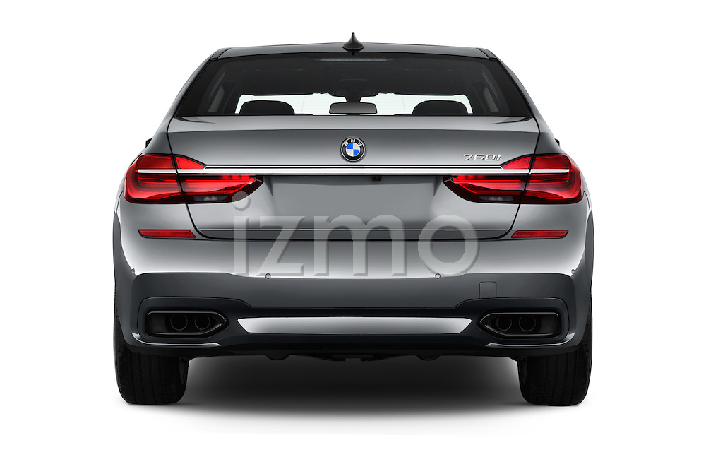 Straight rear view of 2017 BMW 7 Series 750i M Sport 4 Door Sedan Rear View  stock images