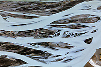 Aerial view of erosion patterns in large river, Alaska