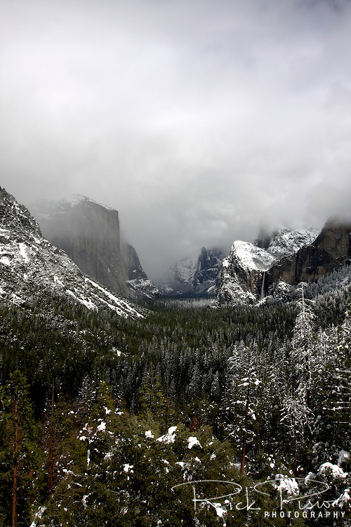 A spring storm lingers over Yosemite National Park