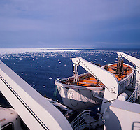 Life boat on the ship Vistafjord in the Artic. Norway 1975