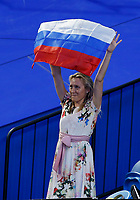 7th January 2020; RAC Arena, Perth, Western Australia; ATP Cup Australia, Perth, Day 5; Russia versus Norway; A Russian supporter waves a Russian flag during the doubles - Editorial Use