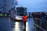 Monday 11th August 2014<br /> Pictured: Real Madrid team bus leaving Cardiff City Stadium.<br /> RE: Real Madrid team bus leaving Cardiff City Football Stadium after training session, fans wait in the rain