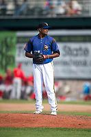 Missoula Osprey starting pitcher Deyni Olivero (37) gets ready to deliver a pitch during a Pioneer League game against the Orem Owlz at Ogren Park Allegiance Field on August 19, 2018 in Missoula, Montana. The Missoula Osprey defeated the Orem Owlz by a score of 8-0. (Zachary Lucy/Four Seam Images)
