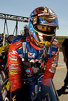 Sept. 5, 2010; Clermont, IN, USA; NHRA top fuel dragster driver Antron Brown during qualifying for the U.S. Nationals at O'Reilly Raceway Park at Indianapolis. Mandatory Credit: Mark J. Rebilas-