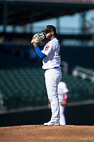 Mesa Solar Sox starting pitcher Erick Leal (40), of the Chicago Cubs organization, looks in for the sign during an Arizona Fall League game against the Peoria Javelinas at Sloan Park on November 6, 2018 in Mesa, Arizona. Mesa defeated Peoria 7-5 . (Zachary Lucy/Four Seam Images)