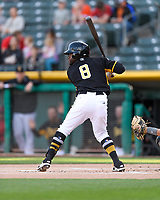 Eric Young Jr. (8) of the Salt Lake Bees at bat against the Sacramento River Cats in Pacific Coast League action at Smith's Ballpark on April 13, 2017 in Salt Lake City, Utah. Salt Lake defeated Sacramento 4-3. (Stephen Smith/Four Seam Images)