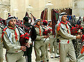 Jerusalem, Israel - April 10, 2006 -- Palestinian Boy Scouts perform in a parade down Dabbagha Street in the Arab Quarter of the Old City of Jerusalem on April 10, 2006..Credit: Ron Sachs / CNP